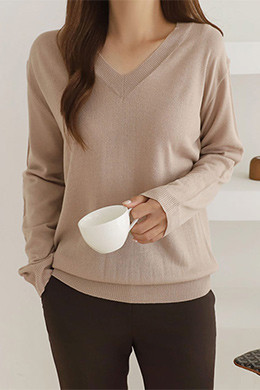 P8359 V-neck loose fit long sleeves knit