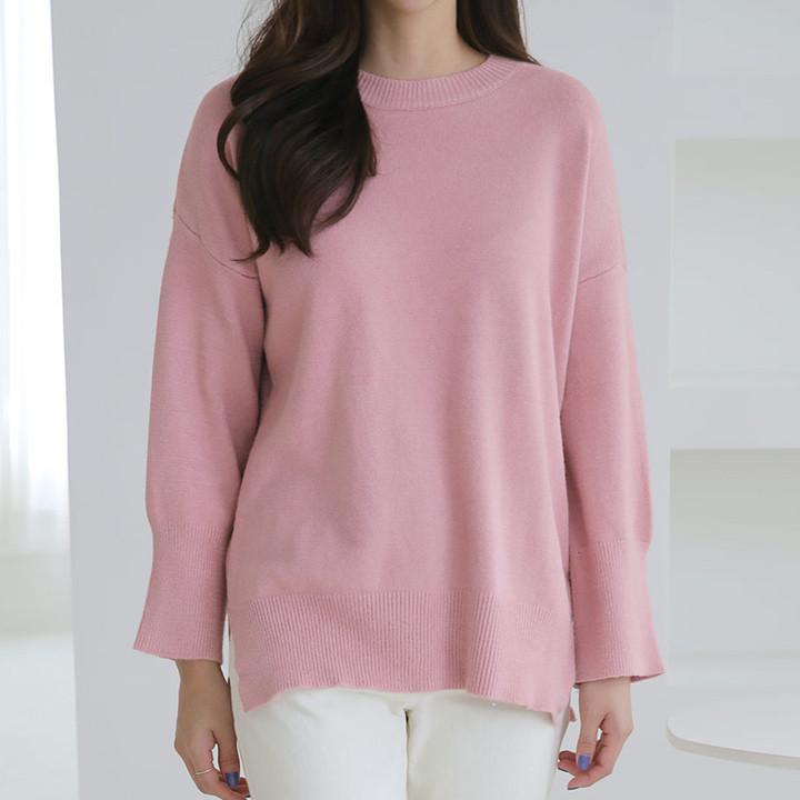 P8360 Box round neck side knit knit