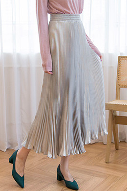 P8378 Satin Pleated Banding Long Skirt (5color)