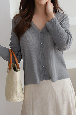 P9044 Soft Rayon V Neck Knit Cardigan
