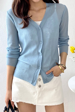 P9100 Summer Cool V Neck Cardigan (6color)