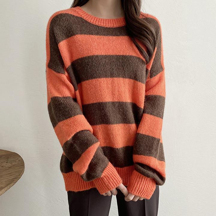 P9422 alpaca wool blend stripe knit
